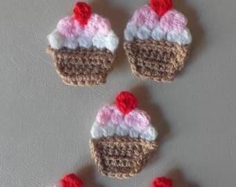 Crochet cake motif, cake motif, set of 5 motifs, sewing supplies, cake applique ,ready to ship