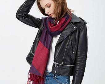 Striped Two-Tone Fringed Scarf in 3 Colors