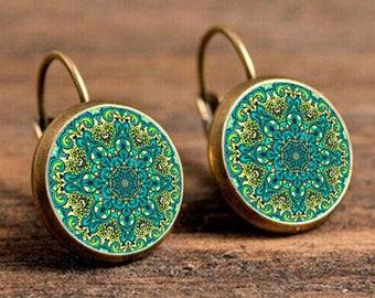 Vintage Flower Earings- Mandala Symbol