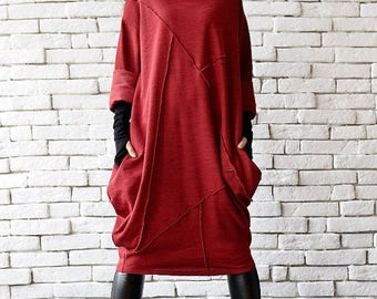 SALE Red Loose Tunic/Oversize Red Dress/Red Maxi Dress/Long Sleeve Winter Dress/Red Polo Dress/Plus Size Maxi Dress/Long Tunic Top/Red Tunic