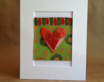 Collage Painting - Rumpled Heart #44