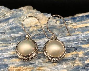 Pearl Earrings // 925 Sterling Silver // Bali Weave Setting // Silver Pearl Earrings
