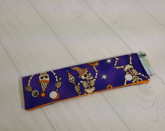 "Halloween Skeletons, Short Needle Cozy DPN Holder, project holder 7""x2""- (Hold up to 6"" Needles) NCS0038"