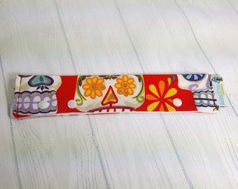 "Glitter Sugar Skulls Long Needle Cozy DPN Holder - project holder 8""x2"" (Hold up to 8"" Needles) NCL0049"