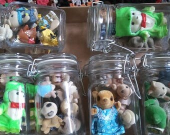 Vintage Calico Critters in Mason Jars