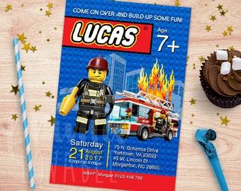 Digital Lego CIty invitation, Lego thank you tag, Lego city fire station, Lego fire station birthday, Lego printables