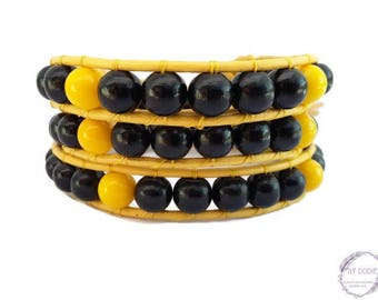 Wrap bracelet 3 turns for Man yellow leather black wood and yellow baked porcelain jewelry of creation By Dodie