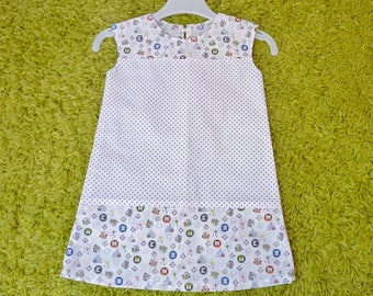 Dress 18 months-2 years, white gray dots and little penguins, shape right.