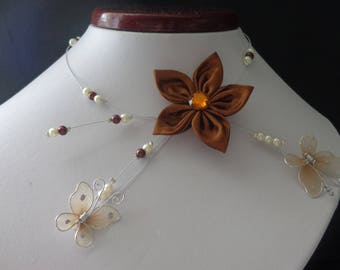 Brown flower ivory pearls hypoallergenic available yarn Butterfly Necklace on wedding