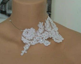 white lace Choker necklace set with Rhinestone wedding