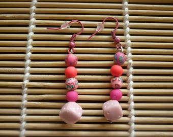 Pink dice bead earrings and a string of beads polymer clay and acrylic.