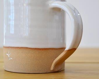 HOMESPUN Collection: Mug Handmade White/ Natural Wheel Thrown, partially glazed, Pottery Stoneware