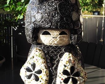 Japanese mosaic sculpture doll brings good luck