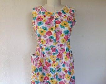 1960s Floral cotton day dress