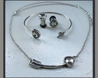Cupid's dazzling Arrow heart Necklace, Bracelet, stretched ear plugs Earrings set gauge size -  12g, 8g, 6g, 2g aka 2mm, 3mm, 4mm, 6mm