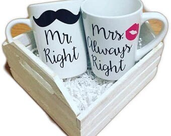 Mr. Right and Mrs. Always Right Mug Set (White)