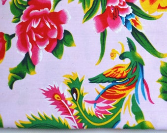 Chinese fabric pink peony with patterns of phoenix and flowers 0.5m
