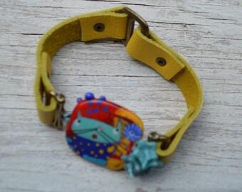 Jasmine French Kitty leather bracelet - DayLilyStudio