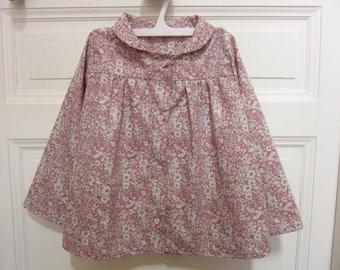 girl pink flowers cotton Poplin blouse