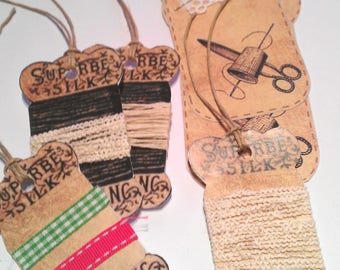 SET of 6 labels customized CARTONNEES sewing theme