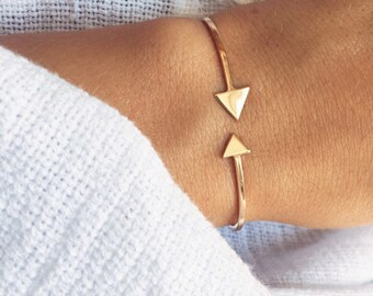 Bracelet, Bangle two arrows plate gold 750/000 - gold plated bangle