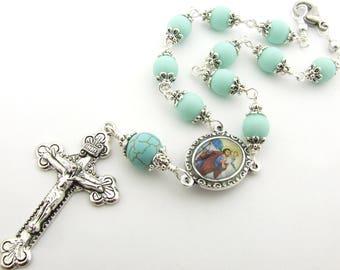 Car Rosary - Saint Christopher Patron Saint of Travelers Auto Rosary One Decade Pocket Rosary Unbreakable Mint Green Rosary - Catholic Gift