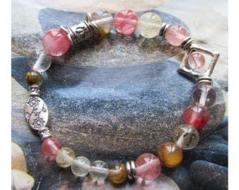 """""""Wounds emotional serenity"""" bracelet silver metal and watermelon tourmaline beads"""