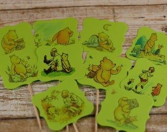 Classic Winnie the Pooh theme, Winnie the Pooh cupcake topper,  Winnie the Pooh cupcake picks