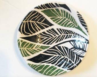 Fern Sgraffito Design - Ceramic Ring Dish - Spoon Rest - Small Ceramic Ring Dish
