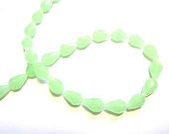4 GREEN OPAL 10/15 MM FACETED CRYSTAL DROPS