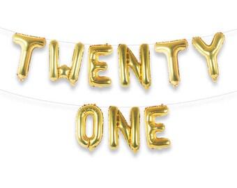 """TWENTY ONE 16"""" Gold Foil Letter Balloon Banner Kit"""