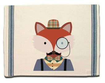 Hipster Fox Kitchen Towel,fox lovers gift Tea Towel, Flour Sack Material,Woodland Animals Dish Towels, Whimsical Kitchen Towel, Dish Cloth