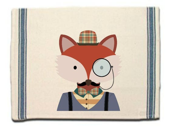 Hipster Fox Kitchen Towel,Dish Towel, Tea Towel, Flour Sack Material,Woodland Animals Dish Towels,Flour Sack Kitchen Towel, Dish Cloth