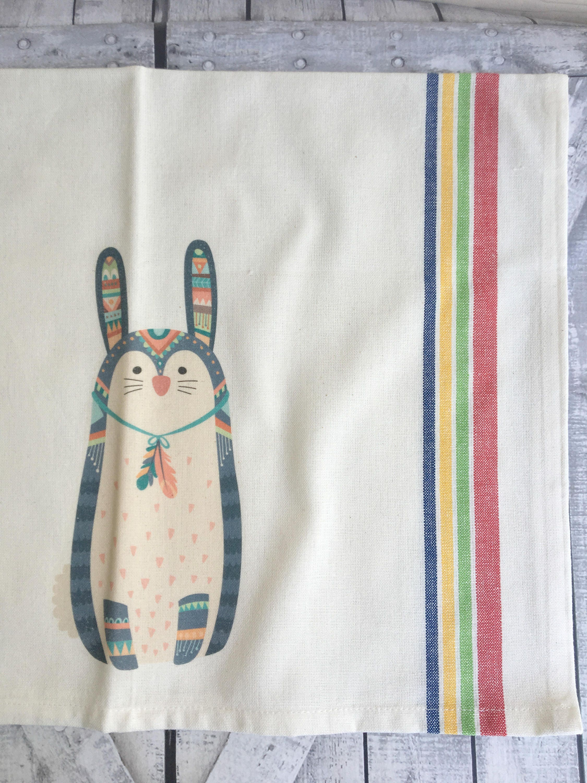 Tribal Bunny Kitchen Towel,Dish Towel, Tea Towel,Flour Sack  Material,Woodland Tribal Animals Dish Towels,Flour Sack Kitchen Towel,Dish  Cloth