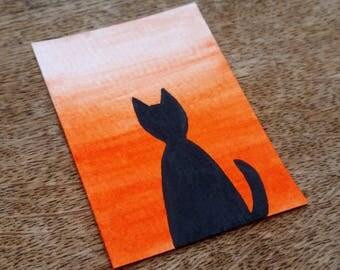 Cat silhouette original ACEO, sunrise artist trading card, sunset miniature art, black cat