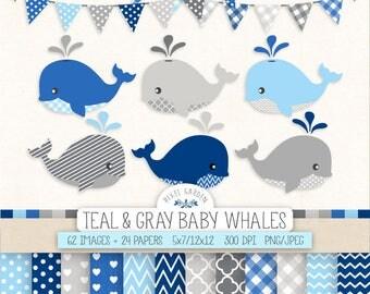 Blue Whale Clip Art. Baby Boy Shower Digital Paper & Banners in Navy, Gray, Blue. Nursery Nautical, Whale Clipart. Polka Dot, Chevron Paper.