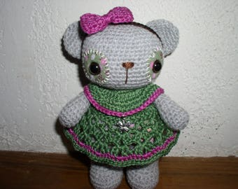 little teddy bear crochet with its Green and pink dress