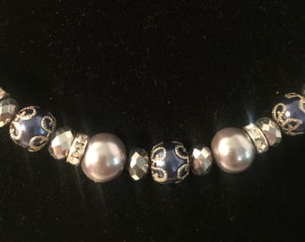 Blue and silver beads with pearls necklace