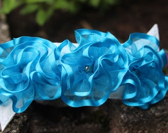 Turquoise Blue Ribbon flower hair clip