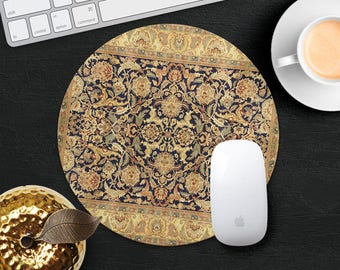 Gold Mouse Pad Classic Rug Mouse Mat Persian Carpet MousePad Desk Accessories Mouse Pad Round Mouse Mat Persian Rug Mouse Pad Office Gift