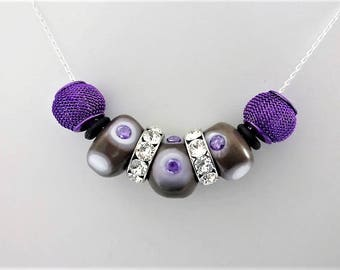Necklace -Tendance- Silver et Zirconium & Glass Beads with Chalumeau - Sterling Silver - Swarovski