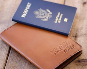 Personalized handmade leather passport wallet in saddle tan color // passport holder // passport cover // gifts for him // gifts for her