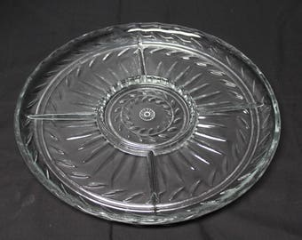 Vintage Party Tray, Divided Relish Dish, Cut Glass, 5 Section Vegitable Platter (D113)