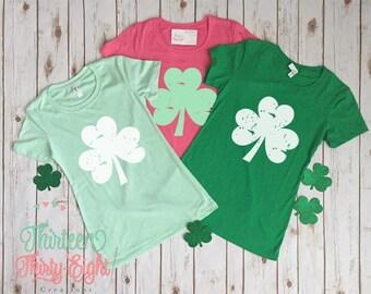Distressed Shamrock Women's Shirt - St. Patrick's Day Shirt - Womens Shamrock Shirt - Irish - Vintage Look St. Patrick's Shirt - Pink &Green