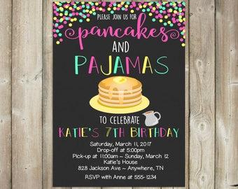 Pancakes & Pajamas - Sleepover Birthday Invitation - DIGITAL FILE