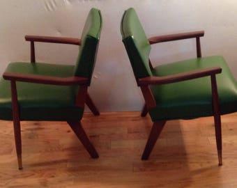 Pair Mid Century Modern Walnut Accent Chairs 50u0027s