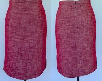 Vintage Red Pencil Skirt, 90s Skirt, Red Skirt, Side Split Skirt, Size 14 16