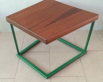 Walnut Side Table with Green Metal Base-Modern Furniture-Minimalist Accent Table-Dark Wood Side Table