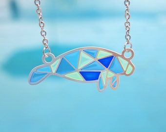 Blue Geometric Manatee 99.9 Fine Silver Plated Necklace
