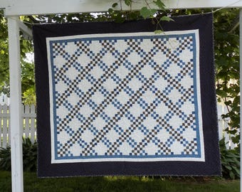 Blue Double Irish Chain Quilt, 68 by 60 inches